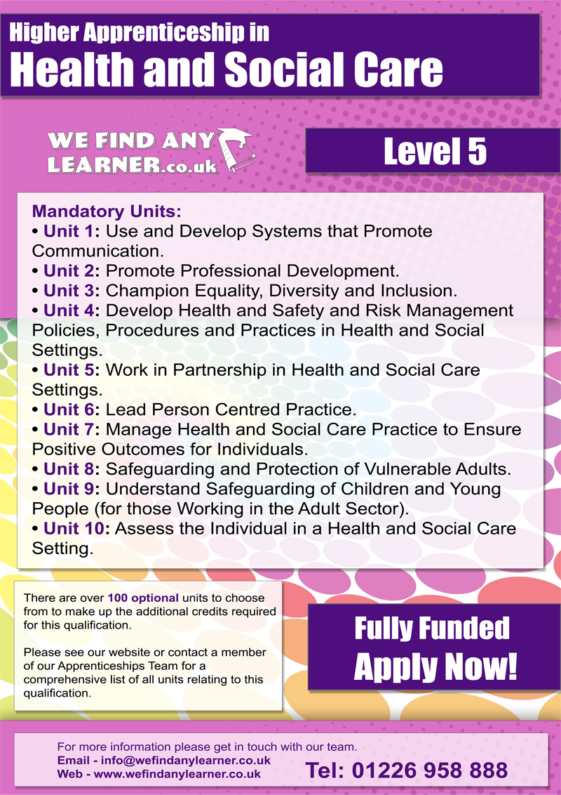 health and social care adults for
